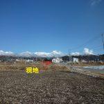 敷地へ向かう道・奥は八ヶ岳(2019年3月)