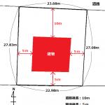 区画図(赤の部分が建築可能範囲)
